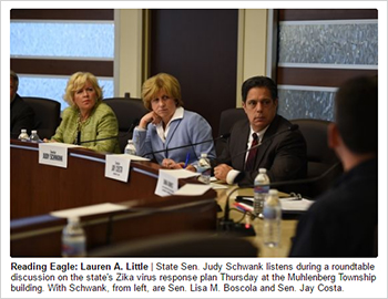 Reading Eagle: Lauren A. Little | State Sen. Judy Schwank listens during a roundtable discussion on the state's Zika virus response plan Thursday at the Muhlenberg Township building. With Schwank, from left, are Sen. Lisa M. Boscola and Sen. Jay Costa.