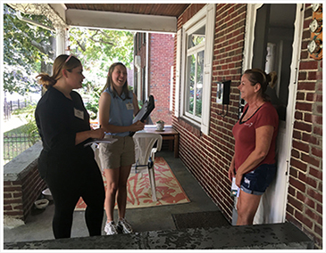 Senator Schwank joins interns for door-to-door constitutent outreach.