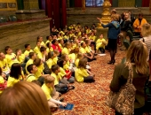 Sen. Judy Schwank gives the students in the WOW Initiative a tour of the Senate chamber.