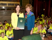 Muhlenberg Elementary reading specialist Dr. Argyro Elliker receives a Senate citation for the WOW Initiative from Sen. Judy Schwank