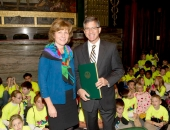 Sen. Schwank gives a Senate citation for the WOW Initiatve to Reading Eagle Company President and CEO Peter Barbey.