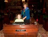 """Third grader and \""""Plants\"""" poem author Sara Miller with Sen. Judy Schwank"""