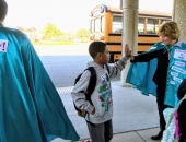 October 19, 2018: I had the great opportunity to greet Muhlenberg Elementary Center students as they walked into school. We were invited by Principal Krista Venza. She and her staff at the MEC have made it their mission to make students feel welcomed. Mike Toledo, the executive director of the Daniel Torres Hispanic Center, joined me and we spent an hour high-fiving students and wishing them a good day – all while wearing Word of the Week (WOW) capes.