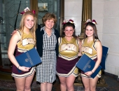 April 10, 2013: Visiting the Capitol as part of the Big 33 Scholarship Foundation were (Left to right) Samantha Kahres, Jaclyn Badgley and Brianna Maiatico from the Governor Mifflin School District cheerleading team. These young women were amongst the 76 cheerleaders selcted to represent their school in the 56th Big 33 Football Classic.