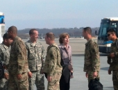 March 11, 2014: Senator Schwank greets each soldier from the 333rd Engineering Company from deployment in Afghanistan. The brave men and women conclude a nearly year-long deployment as part of Operation Enduring Freedom.