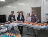 April 19, 2013: Senator Schwank toured Wenger Feeds newest cage free barn operated by Larry and Jessica Hartranft.  Pictured are (L-R) Larry Hartranft, Sr., Senator Schwank, Jessica Hartranft and Larry Hartranft, Jr.