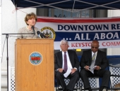 August 14, 2013: Senator Schwank addresses dignitaries, including DCED Secretary C. Alan Walker and Mayor Vaughn Spencer, local officials and community members at the announcement ceremony of the City of Reading being designated a Keystone Community by the Commonwealth. Senator Schwank strongly supported Reading's application for the Keystone Community designation, which will help boost efforts to revitalize Downtown Reading.