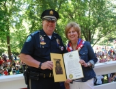 July 4, 2014:  Senator Schwank and Police Chief Beihl at Wyomissing Borough to celebrate the Police Department's 100th Anniversary.