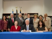 August 6, 2014: Senator Schwank at the ceremony where Governor Corbett signs House Bill 1424, which provides for Holocaust education in Pennsylvania schools.