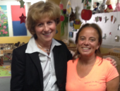 August 1, 2014: Senator Schwank with Norma Aldino at Babies-N-Motion in Reading. Senator Schwank is touring and meeting with staff and parents at child care centers throughout Berks County. The purpose is to provide and improve services for children, providers, and families.