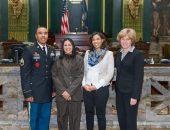 January 30, 2015: Staff Sgt. Melvyn Mayo of Reading, his mother Wanda Colon, his sister Catrina Hogue, and Sen Schwank