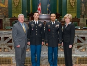 January 30, 2015: Senator Folmer, Sgt. 1st Class Vinicios Occhiena, Staff Sgt. Melvyn Mayo, and Sen Schwank