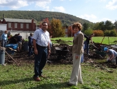 Senator Schwank visits the site of a former vacant lot in south Reading that is being transformed into an urban garden on October 15, 2011